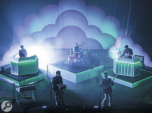 From their beginnings as a solo project Metronomy have evolved into a five-piece band, as here on stage at the Brixton Academy. From left: Oscar Cash, Joseph Mount, Anna Prior, Gbenga Adelekan and Gabriel Stebbing.