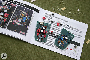 The kit comes with all the components you need, along with detailed instructions on where to solder them.