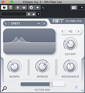 Rift Filter Lite presents the Filter section from the full version as astandalone plug‑in.