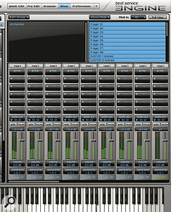 The Mixer section of the Best Service Engine software.