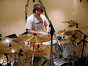 Gaz tracking the drums, which had been well recorded, except that there was considerable spillage on the tom mics.