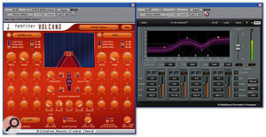 The 'stabbing' guitar part was reshaped using multi-band compression and band-pass filtering.