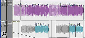 Some fairly extensive level automation was needed to even out the processed guitars. The second 'stabbing' guitar was also edited so that it only plays in the choruses.