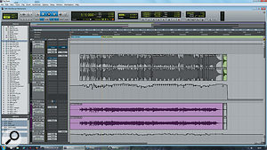 The original (upper) and replacement (lower) bass parts were each recorded to two tracks. Despite plenty of compression and other processing, they both required note-by-note level automation, as you can see here.