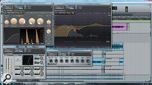 The kick drum required some serious processing to make it cut through the mix. Despite the alarming EQ and compression settings, it's actually the Sansamp plug-in that is doing most of the work.