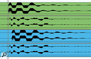 These two pairs of audio tracks illustrate the timing problems that Mike encountered early on in the mixing process. Tracks one and three show the waveform of the first kick-drum hit in the sampled loop, but for two different iterations of the sampled loop. Tracks two and four show where the programmed beat from Kontakt had placed its kick-drum alongside each iteration. The way the peaks and troughs of the layered waveforms combined changed with every new hit, and therefore so did the tonality of the composite sound, making it practically impossible to achieve a consistent sound in the mix.