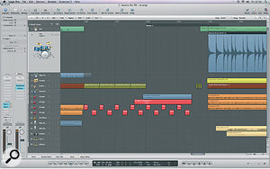 In this screen you can see how Paul reworked one of the break sections, copying ashort guitar part and 'multing' it to different tracks, panned left and right to generate more interest.