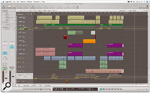 Juan's arrangement was far from overloaded, as the Logic Arrange page shows, and was all the better for it. Note the subtle use of level automation (the yellow lines) in the remix, to balance instrumental parts across different sections.