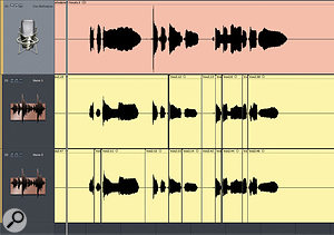 The harmony backing vocals fought a little with the main lead vocal, so Paul chopped out the separate words in order to align them more closely.
