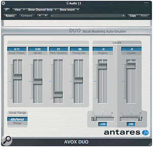 Paul used acombination of Antares' Doubler and Logic's Platinumverb to create an ADT effect on Adam's vocal.