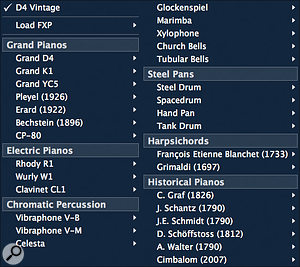 These days, Pianoteq is alot more than just acoustic pianos, as this preset pop-up menu shows. Modartt's paid-for add-ons are of excellent quality. Iwonder what we'll see next. Timpani? Music boxes? Gamelan instruments?