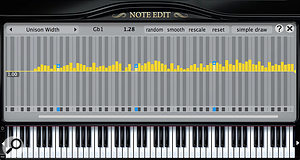 The preserve of Pianoteq's Pro version, Note Edit lets you adjust 30 sound design parameters on an individual note basis. It's the ultimate in virtual piano customization, and has no equivalent in the sampled world.