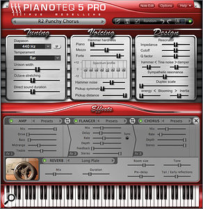 As you switch between Pianoteq instruments different interface skins appear, often with unique parameters. For example the R2 Rhodes piano includes adjustments for pickup symmetry and distance. Also shown here is the Effects section overlay, with its three configurable slots and convolution reverb.