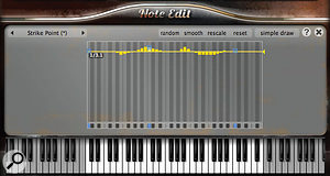 One of the perks of the most expensive Pianoteq Pro version is the potential of its per–note editing. With 28 parameters available it can be used to put a  single note out of tune, or to sculpt crazy 'prepared' or fantasy instruments that have no parallel in reality.