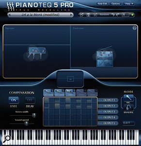 Pianoteq's virtual miking system has been supercharged for version 5. Now there are specific mic models, with varying directional characteristics. In the interface for miking the U4 upright piano, shown here, you even get to adjust the position of a  virtual wall — the horizontal line shown in the left-hand plan view.