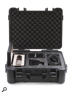The mic and PSU ships in a rugged carrying case and comes with a shockmount and cable.