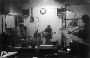 The 'Ape team' at work in Toe Rag studios, as seen from the control room.