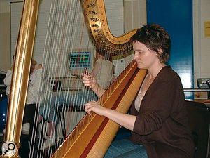 Arts workshops give young people the opportunity to work with professional musicians and music technology. How often do you see a harpist being recorded by two 11-year-olds?