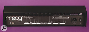 The Slim Phatty's rear panel features aUSB2 port, headphone socket, audio output and audio input (on quarter‑inch jack sockets), CV inputs for volume, filter, pitch and gate (again on quarter‑inch jack sockets) and MIDI In, Out and Thru ports. At the far right, we find an IEC port for the internal power supply, along with the less than conveniently placed on/off switch.