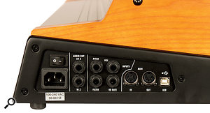 All of the Taurus's connections are found at the bottom right of the unit and include high‑ and low‑Z audio outputs, CV inputs for pitch, volume and filter, agate input, and apair of five‑pin DIN sockets and USB port for MIDI.