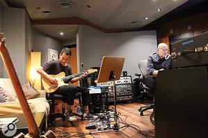 Joe Chiccarelli (right) with guitarist Jesse Tobias.