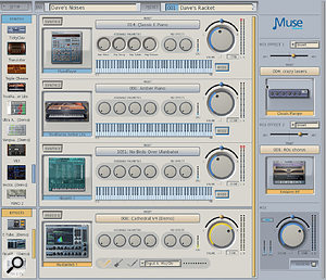 The 'Rack View' of the Receptor VIP's GUI shows available instruments and effects as thumbnails. A total of 16 can be dragged into the central window, with instruments showing at the top and effects underneath. The Mix Effects section on the left accommodates two extra effects, which can be configured as sends or inserts, thus allowing you to add effects to your instruments.