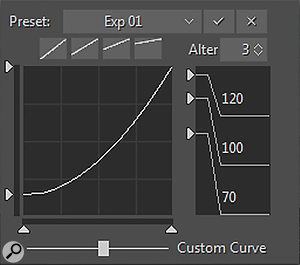 The Steel String's velocity response can be customised with X/Y offsets and variable response curves. The crossover points between the four dynamic layers can also be adjusted, with five different options for round-robin alternating samples. The Velocity settings also have their own preset system. The Classic instrument's Velocity settings differ, having the crossover point of its upper two dynamic layers adjustable from the main screen.