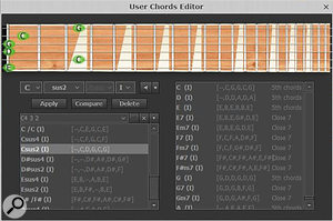 Optional custom chord voicings can be created and saved, replacing the factory default voicings. These are organised in Banks, so you can create different sets of voicings to suit specific songs.
