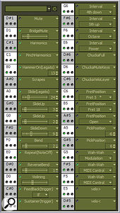 Real LPC's keyswitch window, showing the 33 assignable keyswitch locations. The sliders and drop‑down arrows on some articulations allow the user to set the speed and range of the effect.