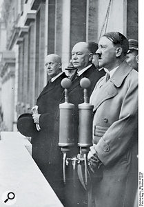 The Neumann CMV3, sometimes called the 'Hitler mic', was not the world's first commercially available capacitor microphone; nor was it invented at Hitler's behest, since its introduction pre-dated his rise to power.