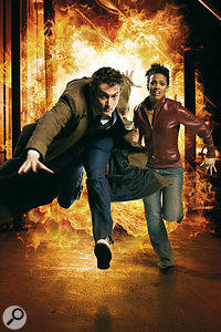 The Tenth Doctor (played by David Tennant) and his current companion Martha Jones (Freema Agyeman).