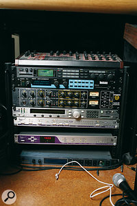 Another rack of neat but now mostly superseded hardware sits on the floor, including an old Access Virus B synth, a TC Electronic Fireworx effects unit, a Lexicon PCM91 reverb, a well-used Drawmer 1969 compressor/mic pre, an Eventide Eclipse multi-effects unit, and an Apogee Rosetta D-A and Big Ben master clock. The last two units were still in regular use before Gold moved to New York.