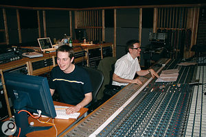 Recording Engineer Jake Jackson and Pro Tools operator Sam Jones in the control room at the same session. Murray was watching and listening from New York via a web cam running on the laptop in the background.