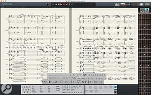 Notion 5 retains the same efficient single–window design of its predecessors, but has had a  lick of predominantly grey paint to make it a  bit more mean, moody and PreSonus–like. In this screenshot, the fretboard virtual instrument and chord library are visible, together with the palette, revealing its complement of guitar tab symbols.