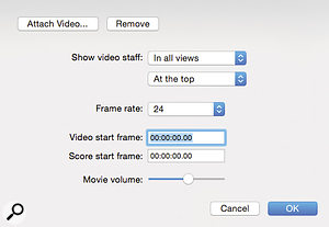 A new video setup dialogue box lets you associate movie files with your score. The video window itself is a  simple affair, without controls or data overlays, but a  new timecode video staff keeps things informative, and allows you to add hitpoints, as here.