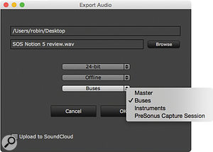 The Spartan Export Audio window allows real–time and (faster) offline bouncing of whole scores, mixer buses and instruments as WAV files. A  new PreSonus Capture Session option is the first indication of compatibility between Notion and the Studio One DAW.