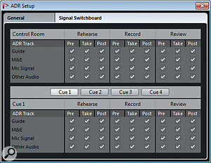 The ADR Setup window's Signal Switchboard lets you configure every possible permutation for monitoring.