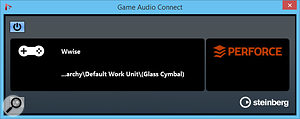 The Game Audio Connect window, where you can drag audio events to be sent to a  Game Audio Engine. If you're connected to such an engine, like Wwise, its name will appear next to the joypad, with the audio asset currently selected in the engine appearing below. If you're connected to a  Perforce server, the Perforce logo would appear in green rather than red.