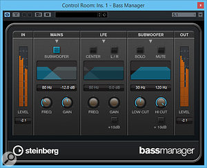 The Bass Manager plug-in adds bass management to Nuendo's Control Room monitoring.