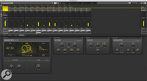 The new mixer, here featuring the modelled drum synth.