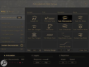 Displaying the Articulation Edit window for the Trumpets Sustain preset. The articulation Sustain Decrescendo has just been assigned to keyswitch F#0.