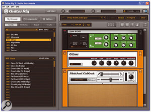 Guitar Rig 3's new streamlined interface incorporates a redesigned preset browser with Kore compatibility. This shot also shows off the new Space Echo and Orange amp emulations.