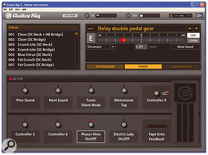 Live View presents all the parameters that are accessible from the Rig Kontrol in such a way as to make them easily visible at a glance. This is the same preset as shown in the header screen, with the pedal and switch assignments clearly displayed.