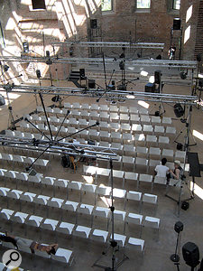 This photo shows the elaborate rigging necessary to position the speakers within the Elisabethkirche.