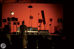 Part of aMOTUS performance. Note the 'ball' and 'column' loudspeakers with their highly coloured frequency responses.