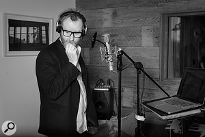 Singer Matt Berninger with a Telefunken USA U47 mic in one of the booths at Long Pond; some of his vocals were tracked here, but others were recorded in his LA home.