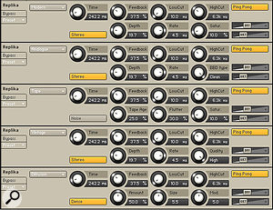 This composite screen shows Replica's five delay types, and the various parameters unique to each.