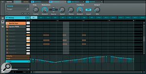An instrument sequence, with effects automation.