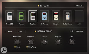 Up to eight effects can be loaded into the slots, and re-ordered by dragging the icons. Effects can be edited in detail, and the complete Effect chain saved as a Sound Preset.