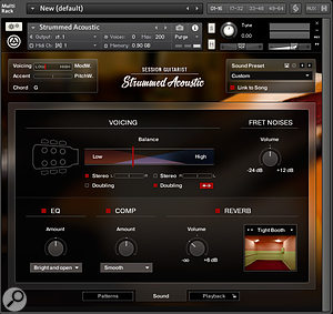 The Sound page allows you to adjust the character of the acoustic guitar's sound in various ways.